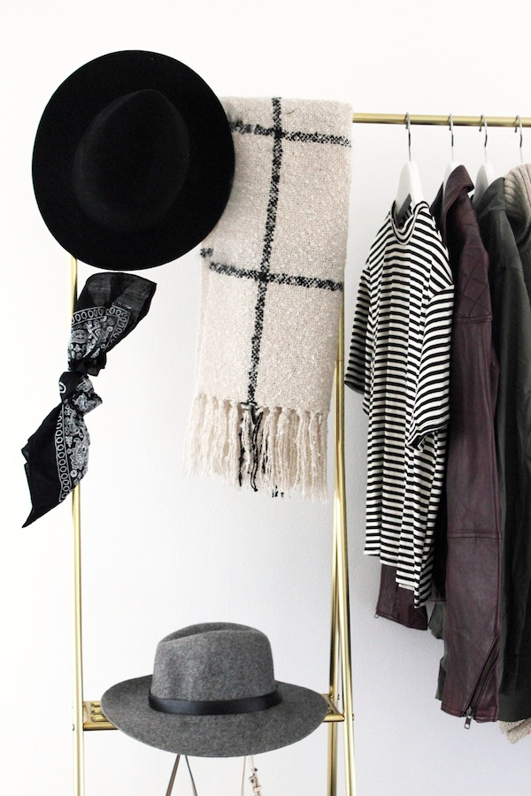 Le-Fashion-Blog-Open-Closet-Inspiration-Gold-Clothes-Rack-Fedora-Hat-Grid-Print-Scarf-Striped-Mock-Neck-Top-Burgundy-Leather-Jacket-Bandana-Home-Decor-Jenn-Camp